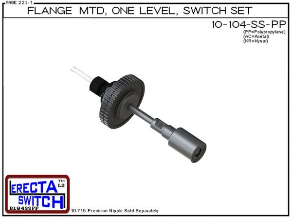 """10-104-SS-PP-BLK Flange Vertical Mounted One Level Shielded Level Switch Set (Polypropylene) features a 1-1/4"""" NPT wiring receptacle providing a weather tight chamber for wire splices, slosh shield and our unique flange nuts.Polypropylene liquid level swi"""