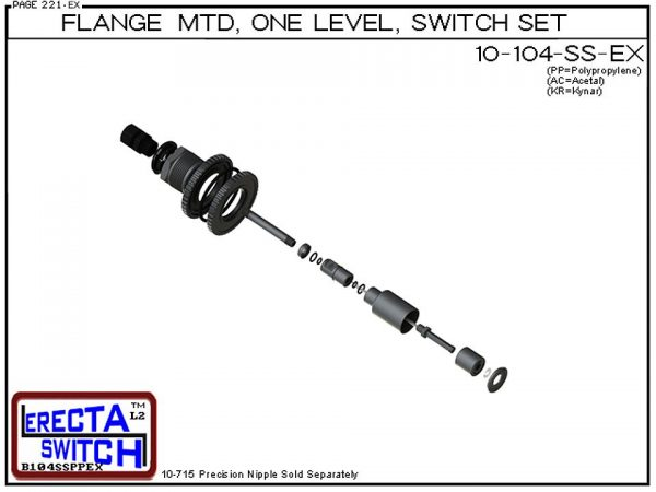 """Exploded View - 10-104-SS-KR-BLK Flange Vertical Mounted One Level Shielded Level Switch Set (Kynar) features a 1-1/4"""" NPT wiring receptacle providing a weather tight chamber for wire splices, slosh shield and our unique flange nuts.Kynar Liquid Level Swi"""