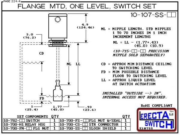 "Diagram - 10-107-SS-KR-BLK Vertical Flange Mounted Relay Housing One Level Extended Stem Shielded Level Switch Liquid Level Sensor Set (Kynar) features a 1-1/4"" NPT Relay Housing providing a liquid tight chamber for your control relay or wire splices and"