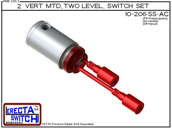 """10-206-AC Multi Level Switch 2"""" NPT Relay Housing Vertical Mounted Two Level extended Stem Shielded level switch Set (Acetal). 1-1/4"""" NPT Relay Housing featured in this multi level switch set provides a liquid tight chamber for your control relay o"""