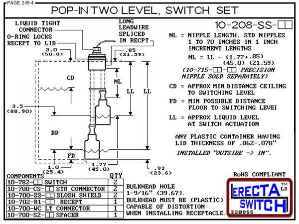 10-208-SS-KR Multi Level Switch Pop-In Extended Stem Shielded Two Level Switch Set (PVDF Kynar) Diagram