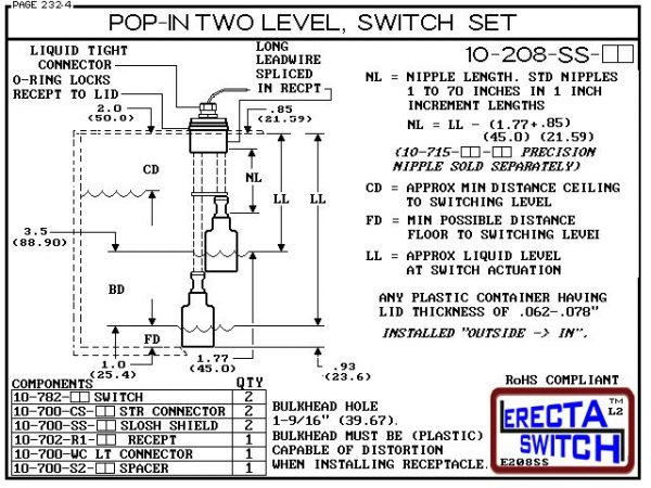 Diagram - 10-208-AC Multi Level Switch Pop-In Extended Stem Shielded Two Level Switch Set (Acetal) features our unique Pop-in wiring receptacle providing a weather tight chamber for wire splices. Acetal Liquid Level Switch Version is suitable for hydrocar