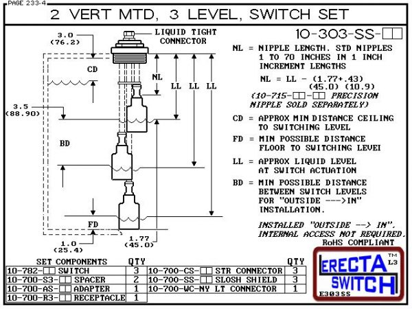 "Diagram - 10-303-AC Multi Level Switch 2"" NPT Vertical Mounted Extended Stem Shielded Three Level Switch Set (Acetal) features a 1-1/4"" NPT wiring receptacle providing a weather tight chamber for wire splices, a 2"" NPT adapter, extended stem hardware and"