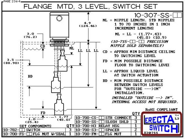 "Diagram - 10-307-SS-AC Multi Level Switch Flange Mounted Relay Housing Three Level Shielded Level Switch Set (Acetal) features a 1-1/4"" NPT Relay Housing providing a liquid tight chamber for your control relay or wire splices and and our unique flange nut"