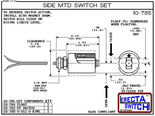 Diagram 10-785-BLK Side Mounted Level Switch Set - A unicellular split float converts the 10-782-PP OEM level switch to one of the most economical side mounted level switch in the world.Polypropylene liquid level switch version is suitable for water, soap