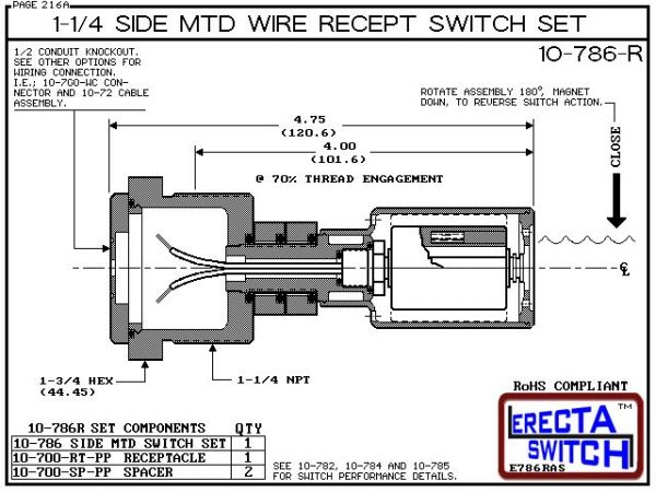 "Diagram - 10-786-R-BLK 1-1/4"" NPT Side Mounted Wire Receptacle Level Switch Set. This side mounted liquid level switch set features a 1-1/4"" NPT wiring receptacle providing a weather tight chamber for wire splices.Only available in Polypropylene liquid le"