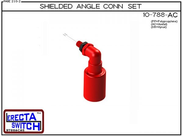 10-788-AC-BLK Shielded Angle Connector Side Mounted Liquid Level Set (Acetal) adds an angle connector and slosh shield to the 10-782 vertical mounted level switch transforming it to a side mounted shielded liquid level switch.Acetal Liquid Level Switch ve