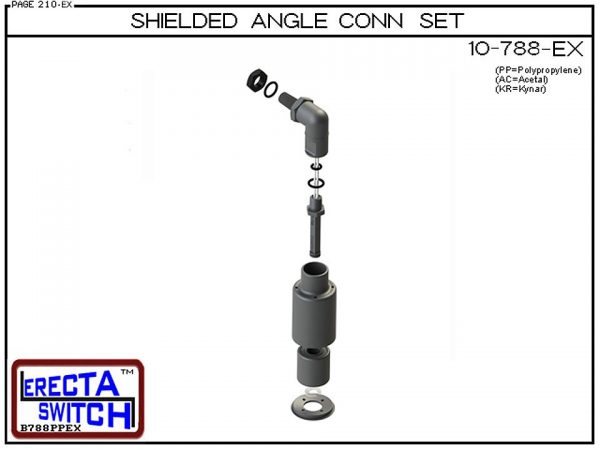 Exploded View - 10-788-PP-BLK Shielded Angle Connector Side Mounted Liquid Level Set (Polypropylene) adds an angle connector and slosh shield to the 10-782 vertical mounted level switch transforming it to a side mounted shielded liquid level switch.Polypr