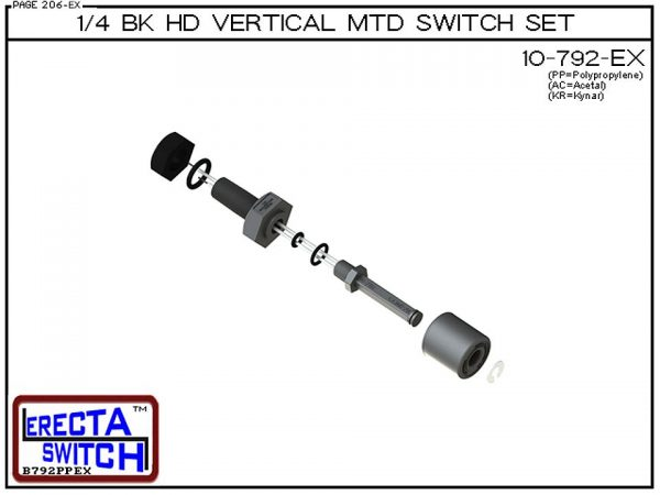 """Exploded View 10-792-KR-BLK 1/4 Bulk Head Vertical Mounted Level Switch adds a 1/4"""" NPT bulkhead fitting to the 10-782 Liquid level switch. Liquid Level Sensor set seals to the bulkhead fitting with double o ring seal. Mount this level switch set to an ex"""