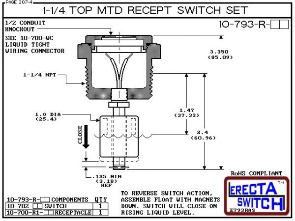 """Diagram - 10-793-R-KR-BLK 1-1/4"""" NPT Top Mounted Receptacle Level Switch Set includes a 10-782 liquid level switch with a 1-1/4"""" NPT wiring receptacle providing a weather tight chamber for wire splices.Kynar liquid level switch version is suitable for har"""