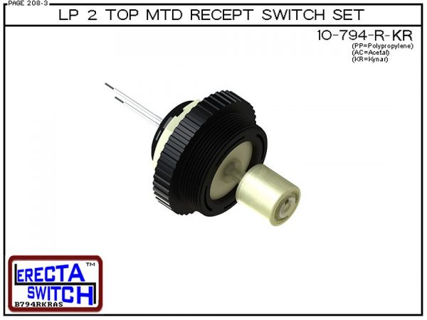 "10-794-R-KR-BLK Low Profile 2"" NPT Top Mounted Receptacle Level Switch Set includes a 10-782 Liquid level switch with a 1-1/4"" NPT wiring receptacle providing a weather tight chamber for wire splices and a 2"" NPT adapter.Kynar Level Switch version is suit"