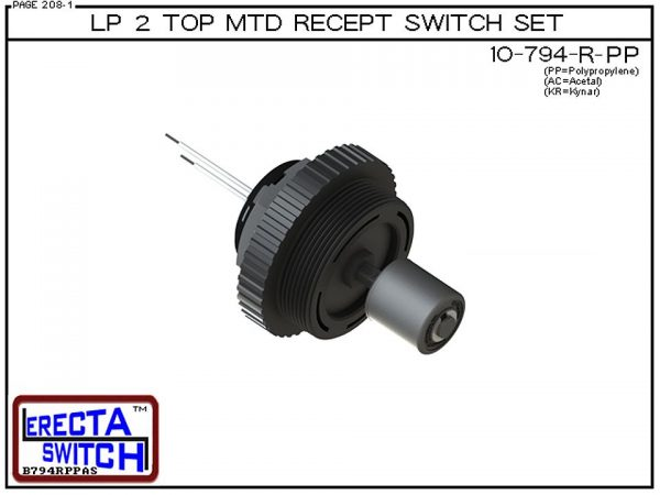 """10-794-R-PP Low Profile 2"""" NPT Top Mounted Receptacle Level Switch Set includes a 10-782 Liquid level switch with a 1-1/4"""" NPT wiring receptacle providing a weather tight chamber for wire splices and a 2"""" NPT adapter.Polypropylene Level Switch version is"""