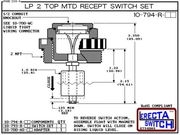 "Diagram - 10-794-R-KR-BLK Low Profile 2"" NPT Top Mounted Receptacle Level Switch Set includes a 10-782 Liquid level switch with a 1-1/4"" NPT wiring receptacle providing a weather tight chamber for wire splices and a 2"" NPT adapter.Kynar Level Switch versi"