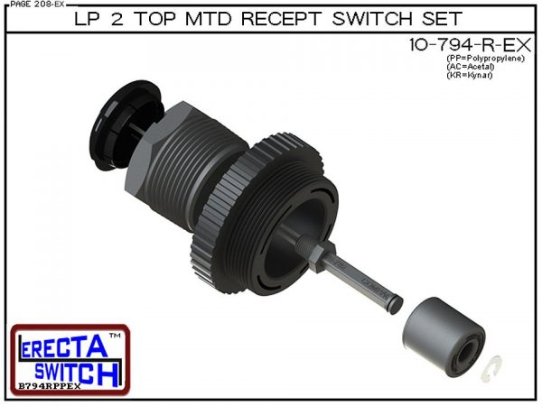 "Exploded View - 10-794-R-KR-BLK Low Profile 2"" NPT Top Mounted Receptacle Level Switch Set includes a 10-782 Liquid level switch with a 1-1/4"" NPT wiring receptacle providing a weather tight chamber for wire splices and a 2"" NPT adapter.Kynar Level Switch"