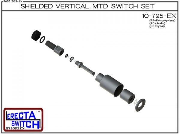 """Exploded Vie - 10-795-KR-BLK Shielded 1/4"""" NPT bulkhead Vertical Mounted Level Switch Set (Kynar) adds a 1/4"""" NPT bulkhead fitting and slosh shield to the 10-782 Liquid level switch.Kynar Level Switch version is suitable for harsh acids, caustics, chlorin"""