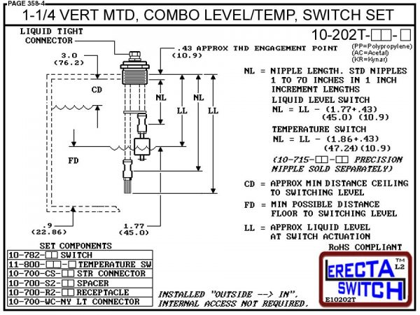 10-202T-PP 1-1/4 Vertical Mounted Combination Level Switch / Temperature Switch Set (Polypropylene) - OEM 10 Pack -5308