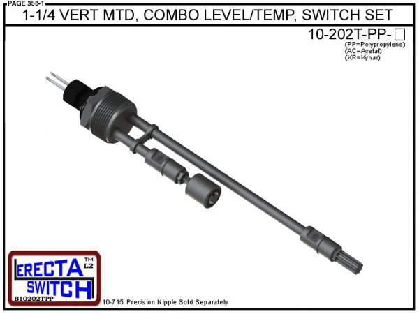 10-202T-PP 1-1/4 Vertical Mounted Combination Level Switch / Temperature Switch Set (Polypropylene) - OEM 10 Pack -0