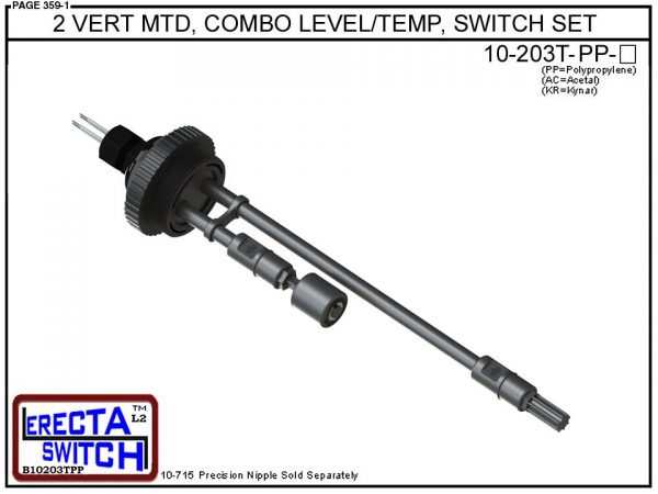 """10-203T-PP 2"""" Vertical Mounted Combination Level Switch / Temperature Switch Set (Polypropylene) - OEM 10 Pack -0"""