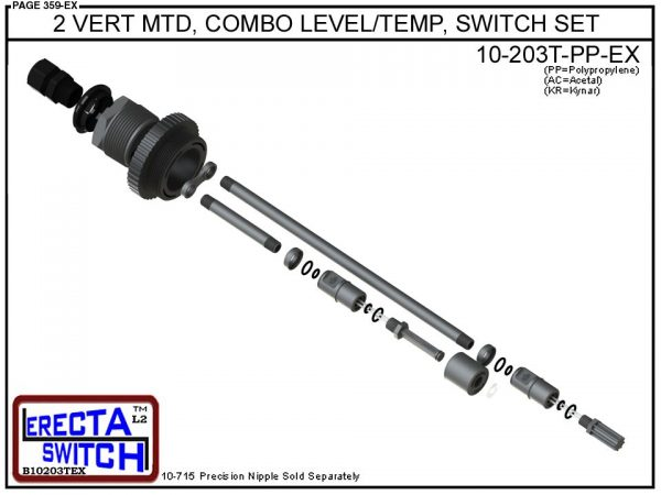 """10-203T-PP 2"""" Vertical Mounted Combination Level Switch / Temperature Switch Set (Polypropylene) - OEM 10 Pack -5337"""