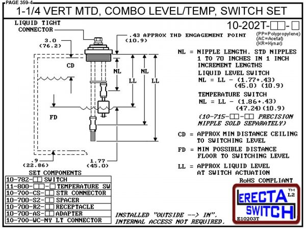 """10-203T-PP 2"""" Vertical Mounted Combination Level Switch / Temperature Switch Set (Polypropylene) - OEM 10 Pack -5336"""