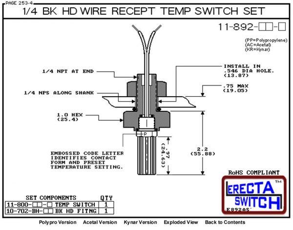 11-892-PP 1/4 Bulkhead Temperature Switch Set (Polypropylene) - OEM 10 Pack -5471