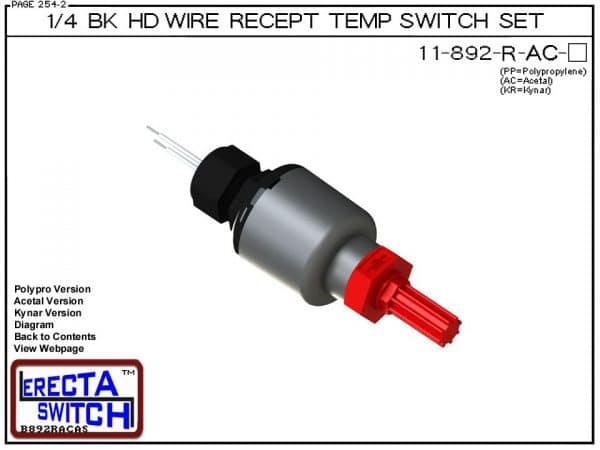 11-892-R-AC Bimetal 1/4 Bulkhead Wire Receptacle Temperature Switch Set (Acetal) - OEM 10 Pack -0