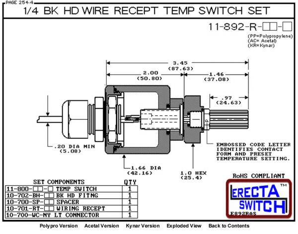 11-892-R-AC Bimetal 1/4 Bulkhead Wire Receptacle Temperature Switch Set (Acetal) - OEM 10 Pack -5521