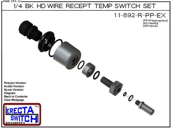 11-892-R-KR Bimetal 1/4 Bulkhead Wire Receptacle Temperature Switch Set (PVDF Kynar) - OEM 10 Pack -5533