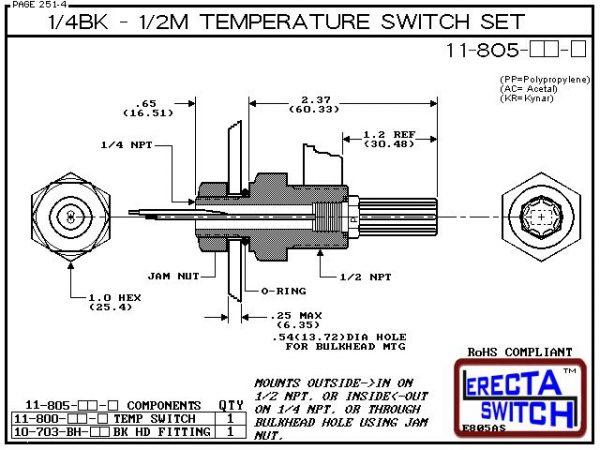 11-805-PP 1/4 Bulkhead - 1/2 Male NPT Temperature Switch Set (Polypropylene)-5395