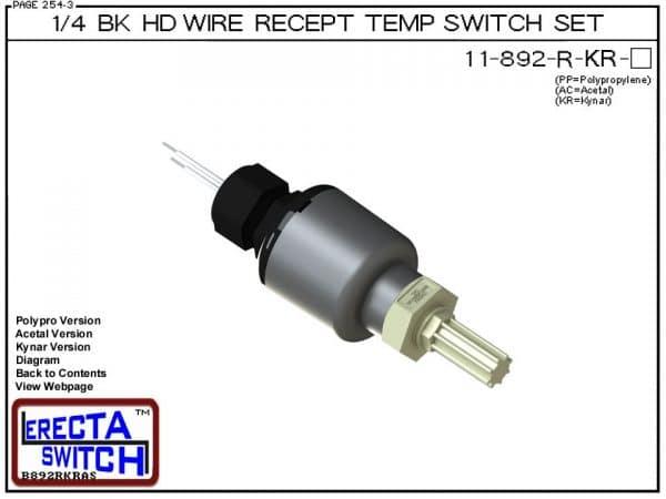 11-892-R-KR Bimetal 1/4 Bulkhead Wire Receptacle Temperature Switch Set (PVDF Kynar)-0