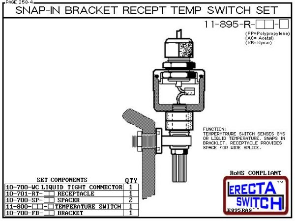 11-895-R-KR Bimetal 1-1/4 NPT Wire Receptacle Temperature Switch Set (PVDF Kynar) - OEM 10 Pack -5751