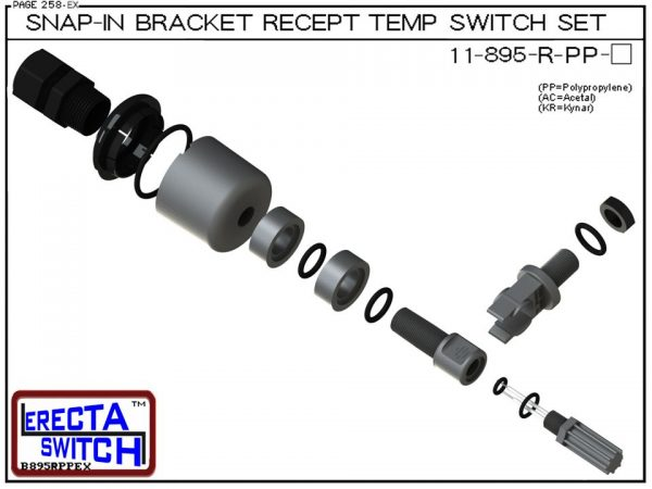 11-895-R-PP Bimetal Receptacle / Snap-In Bracket Mounted Temperature Switch Set (Polypropylene)-5726