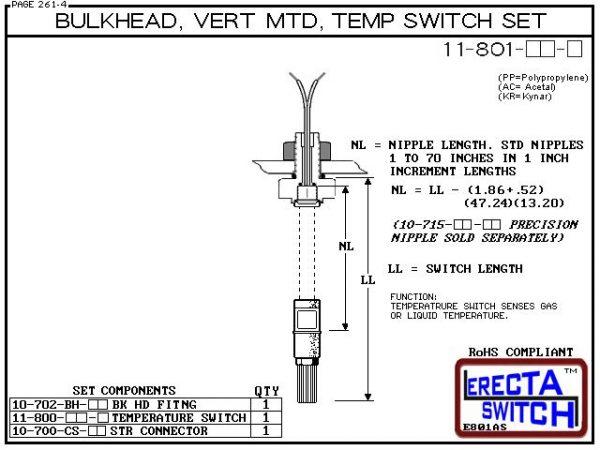 11-801-KR 1/4 Bulkhead Mounted Temperature Probe / Bimetal Temperature Switch Set (PVDF Kynar)-5783