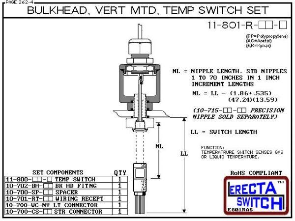 11-801-R-AC 1/4 Bulkhead Mounted Wiring Receptacle Temperature Probe / Bimetal Temperature Switch Set (Acetal) - OEM 10 Pack -5812