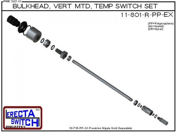 11-801-R-AC 1/4 Bulkhead Mounted Wiring Receptacle Temperature Probe / Bimetal Temperature Switch Set (Acetal) - OEM 10 Pack -5811