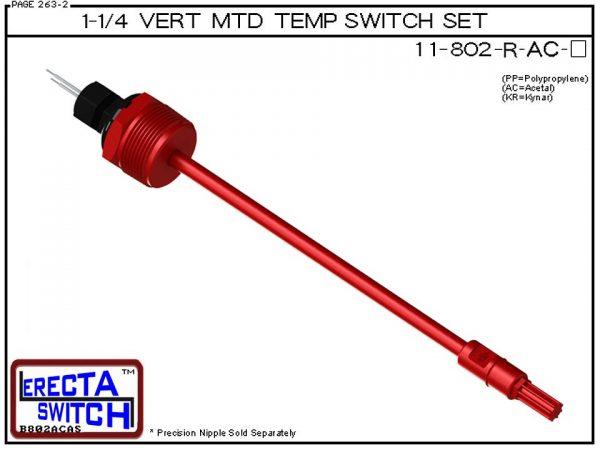 11-802-R-AC 1-1/4 Mounted Wire Receptacle Temperature Probe / Bimetal Temperature Switch Set (Acetal) - OEM 10 Pack -0