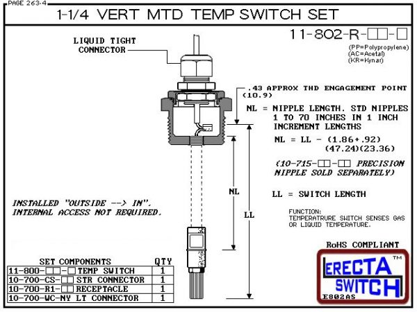 11-802-R-KR 1-1/4 Mounted Wire Receptacle Temperature Probe / Bimetal Temperature Switch Set (PVDF Kynar)-5858