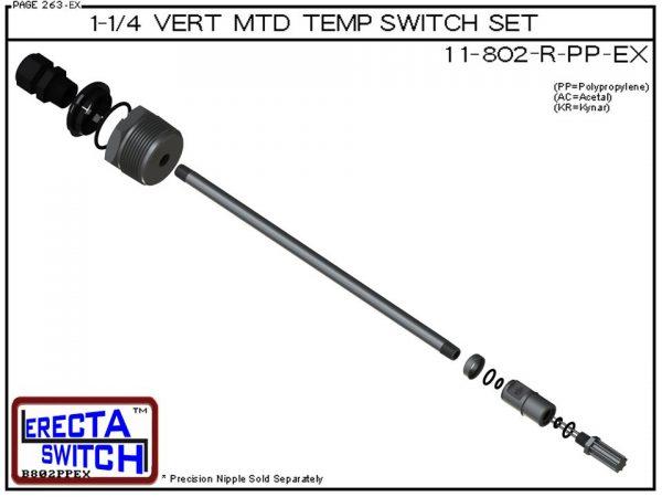 11-802-R-KR 1-1/4 Mounted Wire Receptacle Temperature Probe / Bimetal Temperature Switch Set (PVDF Kynar)-5855