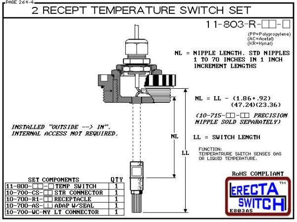 """11-803-R-KR 2"""" NPT Wire Receptacle Temperature Probe / Bimetal Temperature Switch Set (PVDF Kynar) - OEM 10 Pack -5897"""