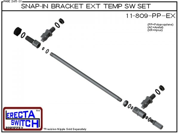 11-809-KR Snap-In Bracket Temperature Probe / Bimetal Temperature Switch Set (PVDF Kynar)-5974