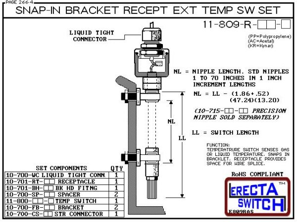 11-809-R-AC Snap-In Bracket Mounted Wire Receptacle Temperature Probe / Bimetal Temperature Switch Set (Acetal)-5923