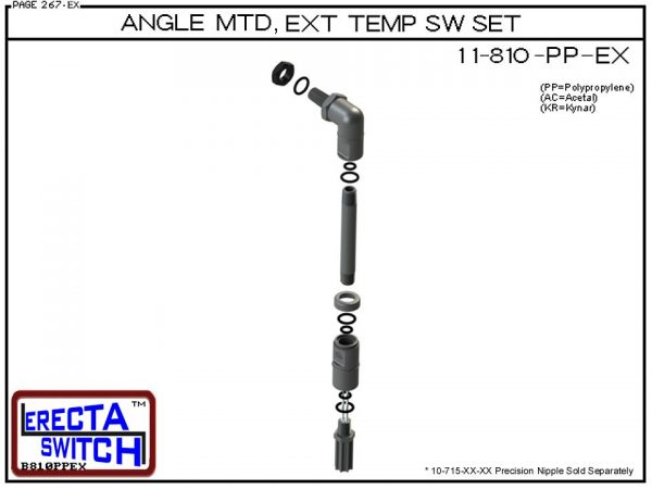 11-810-PP Angle Connector Mounted Extended Temperature Probe / Bimetal Temperature Switch Set (Polypropylene)-5985