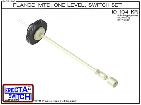 10-104-KR Flange Vertical Mounted One Level Level Switch Set (PVDF Kynar)-0