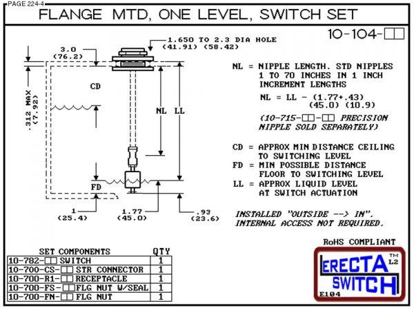 10-104-PP Flange Vertical Mounted One Level Level Switch Set (Polypropylene) - OEM 10 Pack -6175