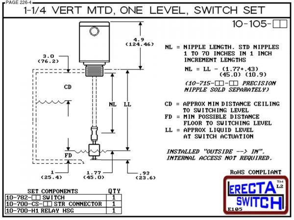 """10-105-KR 1-1/4"""" NPT Relay Housing Vertical Mounted One Level extended Stem Level Switch Set (PVDF Kynar) - OEM 10 Pack -6234"""