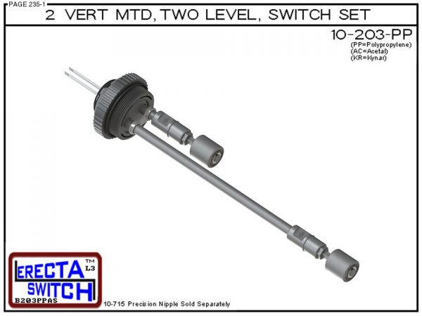"10-203-PP 2"" NPT Two Level Float Switch Set (Polypropylene)-0"
