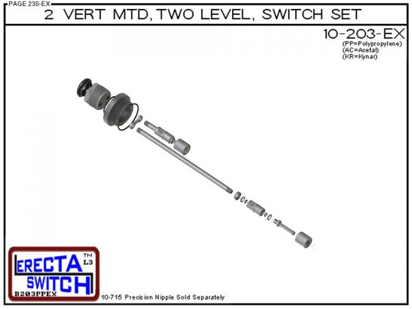 "10-203-PP 2"" NPT Two Level Float Switch Set (Polypropylene)-6349"