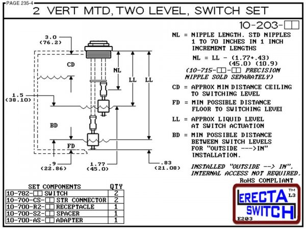 "10-203-AC 2"" NPT Two Level Float Switch Set (Acetal)-6360"