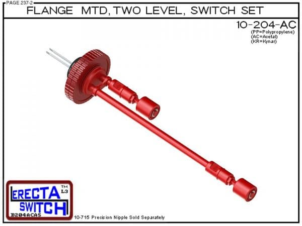 10-204-AC Flange Mounted Two Level Float Switch Set (Acetal)-0