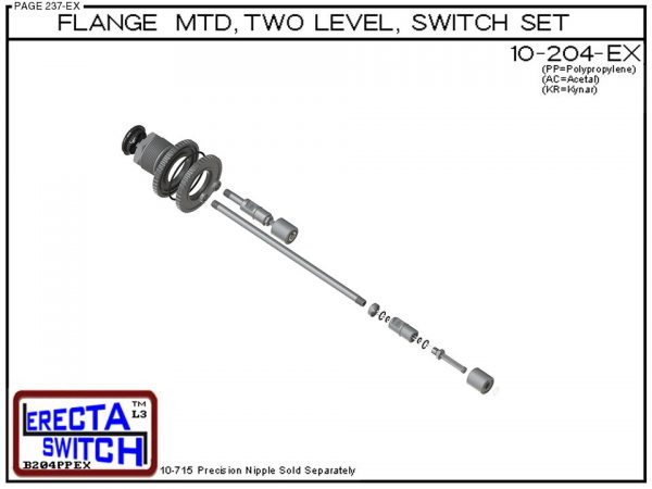 10-204-AC Flange Mounted Two Level Float Switch Set (Acetal)-6390